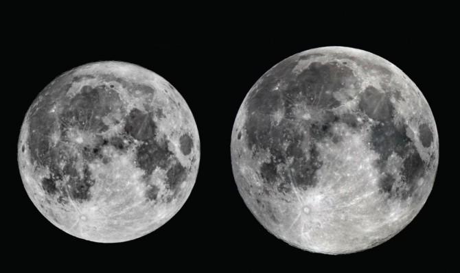 12월 4일 뜨는 큰 보름달(오른쪽)과 지난 6월 9일 뜬 작은 보름달(왼쪽) 크기 비교 사진. 두 달의 크기는 14% 정도 차이나는 것으로 알려졌다. - 한국천문연구원 제공